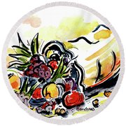 Round Beach Towel featuring the painting Cornucopia by Terry Banderas