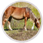 Corolla's Wild Horses Round Beach Towel