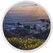 Corona Del Mar Super Bloom Round Beach Towel