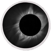 Corona During Total Solar Eclipse Round Beach Towel