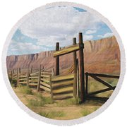 Corral Gate Round Beach Towel by Walter Colvin