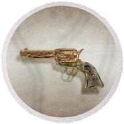 Round Beach Towel featuring the photograph Corroded Peacemaker by YoPedro