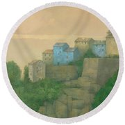 Corsican Hill Top Village Round Beach Towel