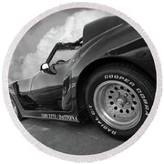 Corvette Daytona In Black And White Round Beach Towel by Gill Billington