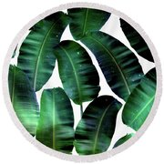 Cosmic Banana Leaves Round Beach Towel