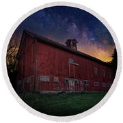 Round Beach Towel featuring the photograph Cosmic Barn by Bill Wakeley