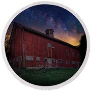 Round Beach Towel featuring the photograph Cosmic Barn Square by Bill Wakeley