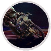 Cosmic Cafe Racer Round Beach Towel