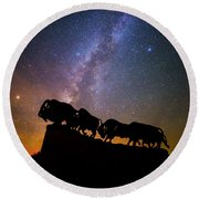 Round Beach Towel featuring the photograph Cosmic Caprock Bison by Stephen Stookey