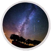 Round Beach Towel featuring the photograph Cosmic Caprock by Stephen Stookey
