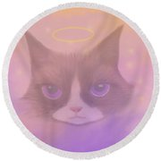Cosmic Cat Round Beach Towel