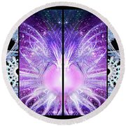 Round Beach Towel featuring the mixed media Cosmic Collage Mosaic Left Mirrored by Shawn Dall