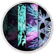 Round Beach Towel featuring the mixed media Cosmic Collage Mosaic Left Side by Shawn Dall
