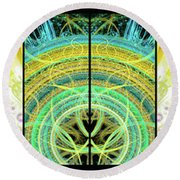 Round Beach Towel featuring the mixed media Cosmic Collage Mosaic Right Side Mirrored by Shawn Dall