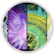 Round Beach Towel featuring the mixed media Cosmic Collage Mosaic by Shawn Dall
