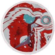 Round Beach Towel featuring the painting Cosmic Corvid by Cynthia Lagoudakis