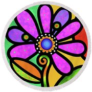 Cosmic Daisy In Pink Round Beach Towel