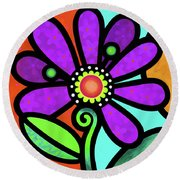 Cosmic Daisy In Purple Round Beach Towel