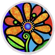 Cosmic Daisy In Yellow Round Beach Towel