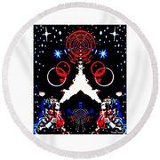 Cosmic Duo Round Beach Towel