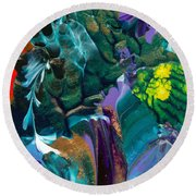 Cosmic Feathered Webbed Universe Round Beach Towel