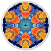 Round Beach Towel featuring the painting Cosmic Fluid by Derek Gedney
