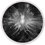 Cosmic Heart Of The Universe Bw Round Beach Towel