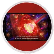 Round Beach Towel featuring the mixed media Cosmic Inspiration God Source by Shawn Dall