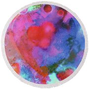 Round Beach Towel featuring the painting Cosmic Love by John Dyess
