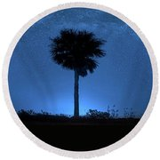 Round Beach Towel featuring the photograph Cosmic Night by Mark Andrew Thomas