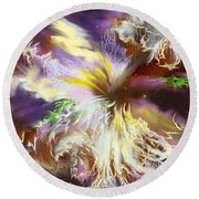 The Flowering Of The Cosmos Round Beach Towel by Amyla Silverflame
