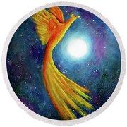 Cosmic Phoenix Rising Round Beach Towel