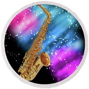 Cosmic Sax Round Beach Towel