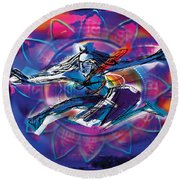 Cosmic Shiva Speed Round Beach Towel