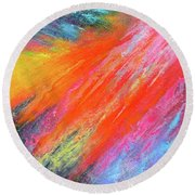 Cosmic Soiree De Colores - Abstract Painting Round Beach Towel