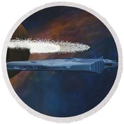 Cosmic Spaceship Round Beach Towel