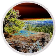 Cosmic Spokane Rimrock Round Beach Towel