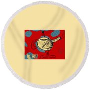 Cosmic Tea Time Round Beach Towel