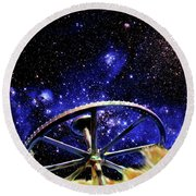 Round Beach Towel featuring the photograph Cosmic Wheel by Jim and Emily Bush