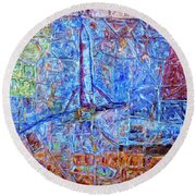 Round Beach Towel featuring the painting Cosmodrome by Dominic Piperata