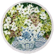 Cosmos And Hydrangeas In A Chinese Vase Round Beach Towel