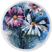 Cosmos Flowers Round Beach Towel