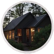 Round Beach Towel featuring the photograph Cosy Cabin In The Woods by Gary Eason