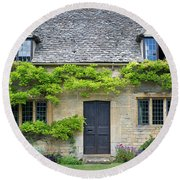 Round Beach Towel featuring the photograph Cotswolds Cottage Home II by Brian Jannsen