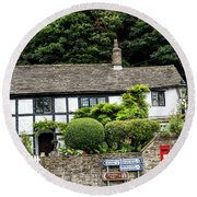 Traditional Cheshire Cottage At The Crossroad Round Beach Towel