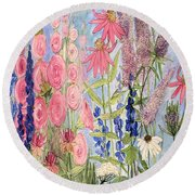 Round Beach Towel featuring the painting Cottage Flowers With Dragonfly by Laurie Rohner