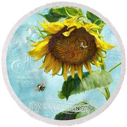 Cottage Garden Sunflower - Everlastings Seeds N Flowers Round Beach Towel