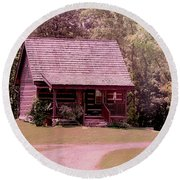 Round Beach Towel featuring the photograph cottage in the Mist by Bonnie Willis