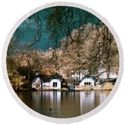 Round Beach Towel featuring the photograph Cottage On The Lake by Helga Novelli
