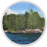 Round Beach Towel featuring the painting Cottage View Silver Lake by Kenneth M Kirsch